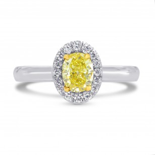 Fancy Intense Yellow Oval Diamond Halo Ring, SKU 26417R (0.65Ct TW)