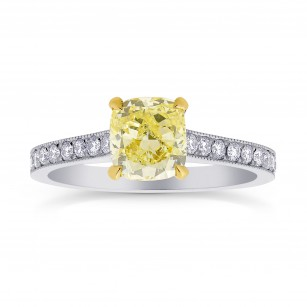 Fancy Yellow Cushion Diamond Pave Milgrain Ring, SKU 26430R (0.84Ct TW)