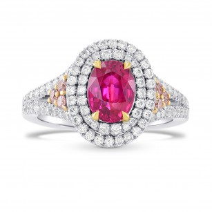 Unheated Ruby & Pink Diamond Double Halo Ring, SKU 264521 (2.23Ct TW)