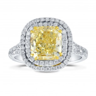 Fancy Intense Yellow Radiant Diamond Double Halo Ring, SKU 26463R (2.10Ct TW)