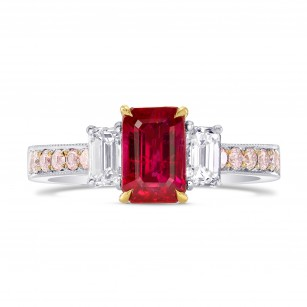 Ruby Emerald-cut & Pink Diamond Dress Ring, SKU 264687 (2.30Ct TW)