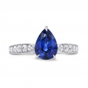 Sapphire Pear & Yellow Diamond Crown Ring, SKU 264689 (2.63Ct TW)
