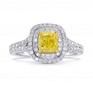 Platinum 1 Carat Fancy Intense Yellow Cushion Diamond Double Halo Ring, SKU 26478R (1.55Ct TW)