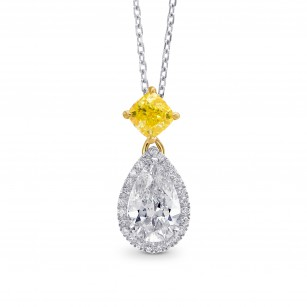 White Pear and Fancy Vivid Yellow Diamond Pendant, ARTIKELNUMMER 264888 (1,50 Karat TW)