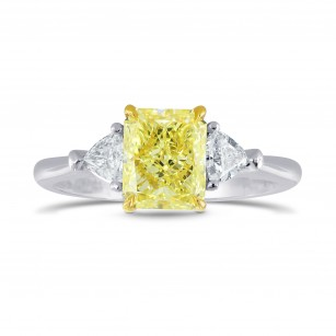 Platinum Fancy Yellow Radiant & Triangle Diamond Ring, SKU 26527R (1.25Ct TW)