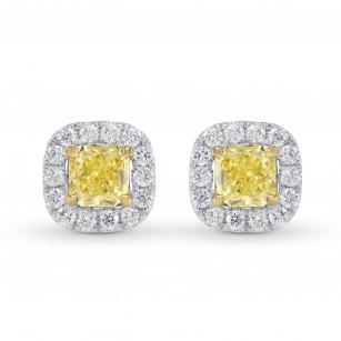 18K Fancy Yellow Cushion Diamond Halo Earrings, SKU 26576R (0.80Ct TW)