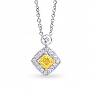 Fancy Intense Yellow Cushion Diamond Drop Pendant, SKU 26587R (0.65Ct TW)