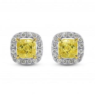 1.30Ct Carat TW GIA Fancy Intense Yellow Cushion Diamond Earrings, SKU 26636R (1.30Ct TW)