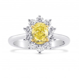 Fancy Yellow Oval Diamond Halo Ring, SKU 266850 (1.59Ct TW)