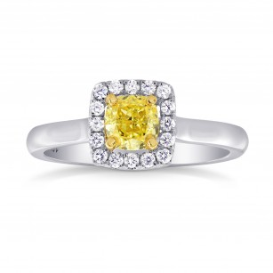 Fancy Intense Yellow Cushion Diamond Halo Ring, SKU 26730R (0.60Ct TW)