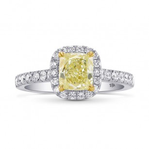 Fancy Yellow Cushion Diamond Halo Ring, SKU 26731R (1.35Ct TW)