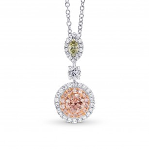 Argyle Pink & Green Diamond Drop Pendant, SKU 267352 (0.60Ct TW)