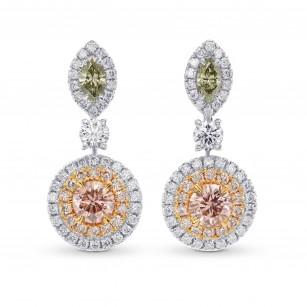 Fancy Pink and Green Diamond Drop Earrings, SKU 267353 (1.10Ct TW)