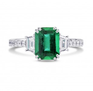 Vivid Green Emerald & Trapezoid Diamond Ring, SKU 26750R (2.45Ct TW)