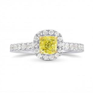 Fancy Intense Yellow Cushion Diamond Halo Ring, SKU 26766R (1.05Ct TW)