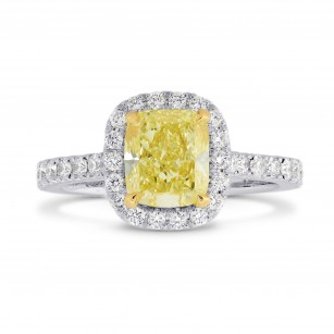 Fancy Yellow Cushion Diamond Carriage Halo Ring, SKU 26819R (1.60Ct TW)