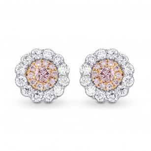 Fancy Pink & White Diamond Pave Flower Earrings, SKU 26825R (0.48Ct TW)