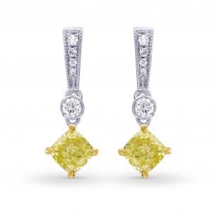 Fancy Yellow  Cushion Diamond  Drop Earrings, SKU 26859R (0.69Ct TW)