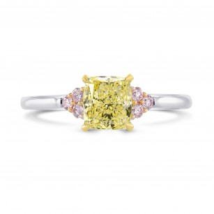 Fancy Yellow Cushion & Pink Diamond Ring, SKU 26925R (1.12Ct TW)