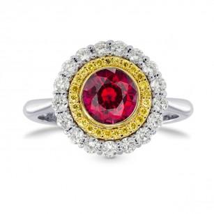 Ruby & Fancy Intense Yellow Diamond Halo Ring, SKU 26947R (1.09Ct TW)