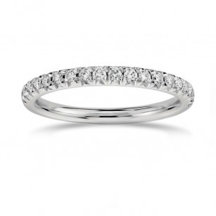 French Pave Diamond Half-Eternity Band Ring, SKU 26983R (0.35Ct TW)