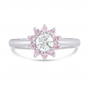 GIA White and Pink Diamond Engagement Halo Ring, SKU 27001R (0.70Ct TW)