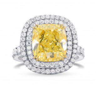 Fancy Light Yellow Cushion Diamond Ring, SKU 270024 (5.90Ct TW)