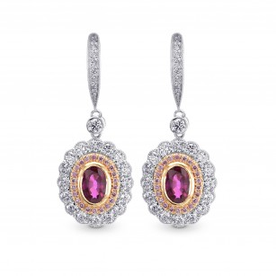 Oval Ruby & Pink Diamond Drop Halo Earrings, SKU 27020R (1.67Ct TW)