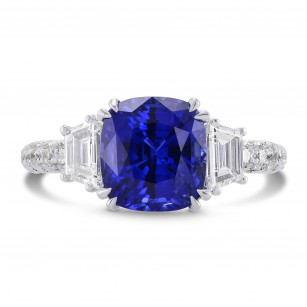 Sapphire Cushion & Diamond Engagement Ring, SKU 270325 (5.08Ct TW)