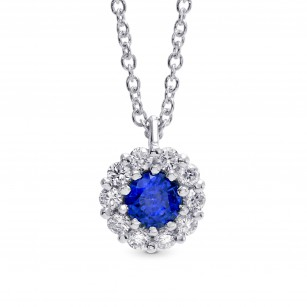 Sapphire & Diamond Halo Pendant, SKU 27032R (0.29Ct TW)