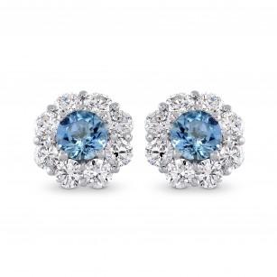 Aquamarine and Diamond Halo Earrings, SKU 270384 (1.33Ct TW)