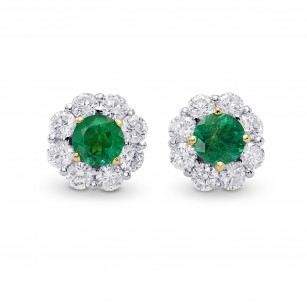Round Emerald & Diamond Halo Earrings, SKU 270385 (1.50Ct TW)