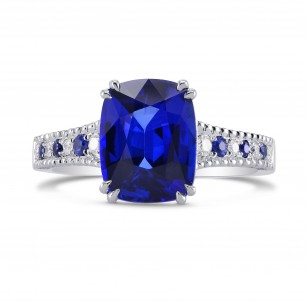Vivid Blue Cushion Sapphire & Diamond Ring, SKU 270533 (3.93Ct TW)