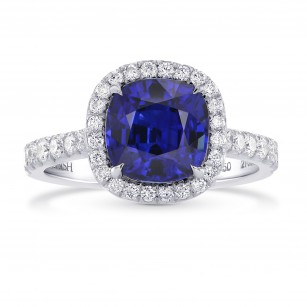 Royal Blue Cushion Sapphire & Diamond Halo Ring, SKU 270534 (3.85Ct TW)
