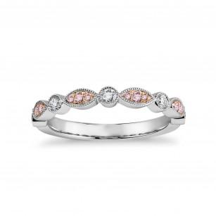 Pink & White Diamond Designer Band Ring, SKU 27120R (0.26Ct TW)