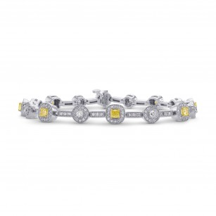 Fancy Intense Yellow Cushion Diamond Bracelet, SKU 27323R (2.60Ct TW)