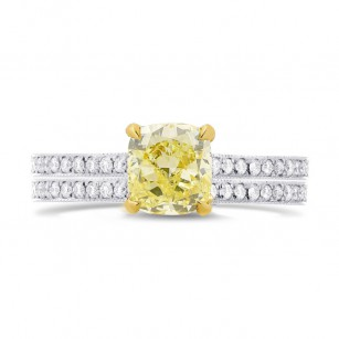 Fancy Yellow Cushion Diamond Engagement & Wedding Ring Set, SKU 27464R (0.99Ct TW)