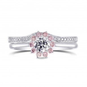 GIA White and Pink Diamond Engagement & Wedding Ring Set, SKU 27465R (1.00Ct TW)