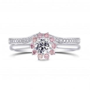 GIA White and Pink Diamond Engagement & Wedding Ring Set, SKU 27465R (1.00Ct TW)