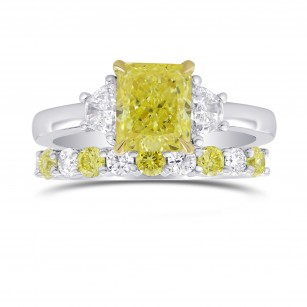 Fancy Yellow Radiant & Trapezoid Diamond Engagement & Wedding Ring Set, SKU 27466R (2.08Ct TW)