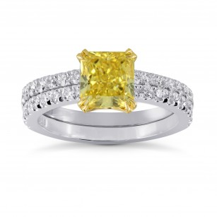 Fancy Yellow Radiant Diamond Engagement & Wedding Ring Set, SKU 27469R (2.18Ct TW)