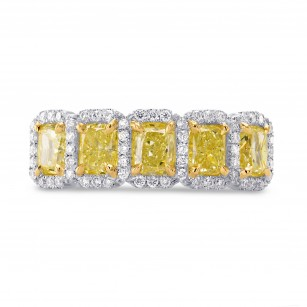 Fancy Light Yellow Radiant Diamond 5 Stone Ring, SKU 27492R (2.15Ct TW)