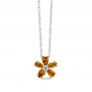 Orange Diamond Flower Pendant, SKU 275010 (0.63Ct TW)