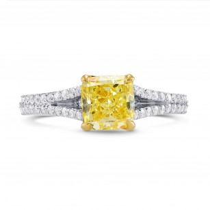 Fancy Yellow Cushion Diamond Ring, SKU 27554R (1.50Ct TW)