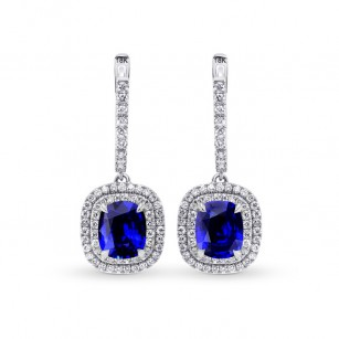 Royal Blue Sapphire & Diamond Drop Halo Earrings, SKU 27612R (6.81Ct TW)