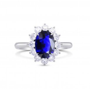 Royal Vivid Blue Sapphire & Diamond (Diana) Ring, SKU 27636R (3.17Ct TW)