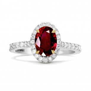 Oval Ruby & Diamond Halo Engagement Ring, SKU 27648R (1.40Ct TW)