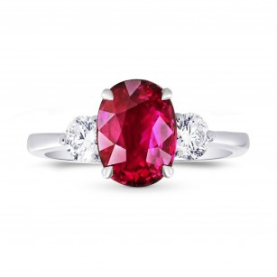 Unheated Ruby & Diamond 3 Stone Ring, SKU 27651R (1.87Ct TW)