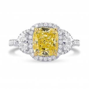 Fancy Intense Yellow Cushion Diamond Halo Ring, SKU 277094 (2.99Ct TW)