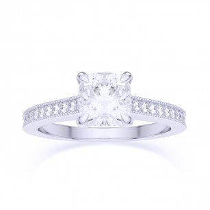 Cushion & Pave Diamond Ring, GIA, SKU 27823R (0.95Ct TW)